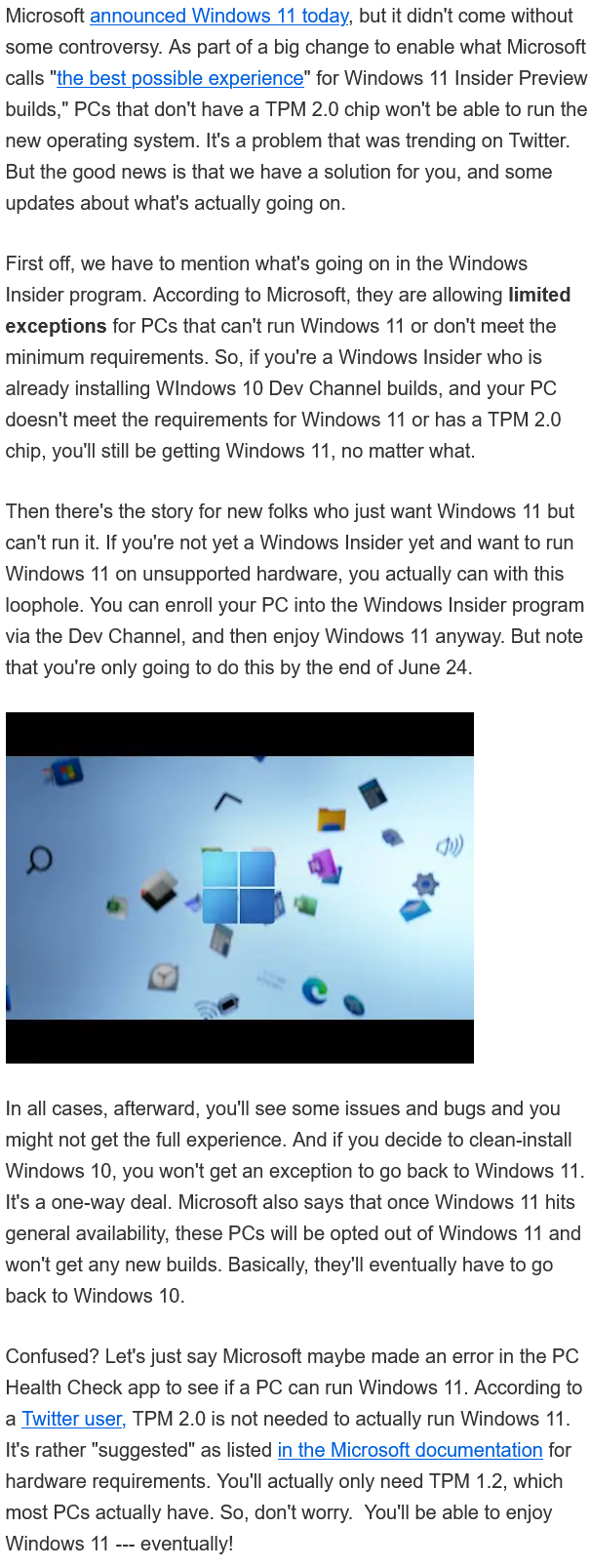 How to run Windows 11 Without a TPM 2 0 Chip